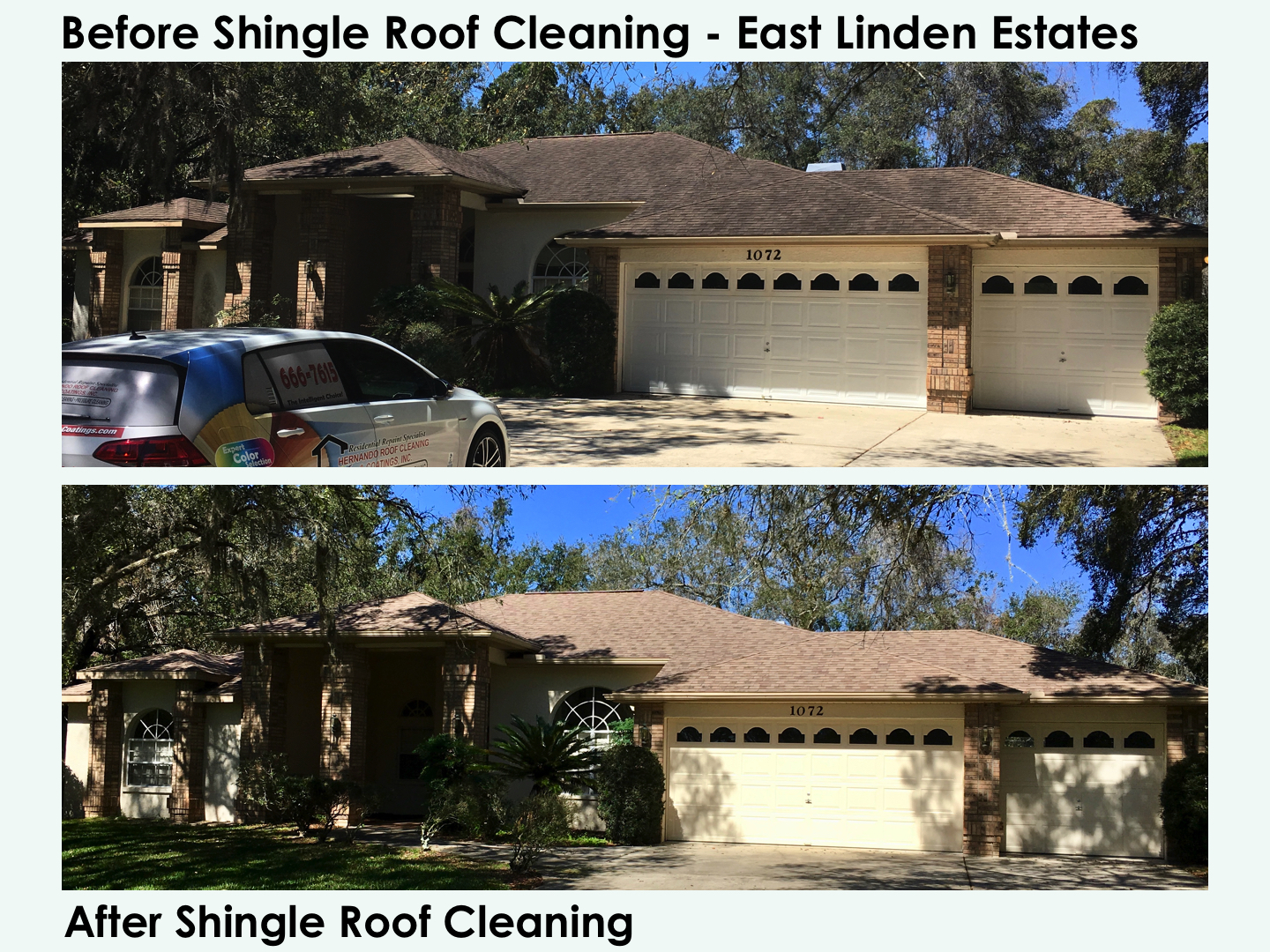 before after shingle roof cleaning east linden estates - Roof Cleaning